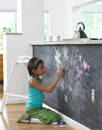 Cleaning a chalkboard wall.