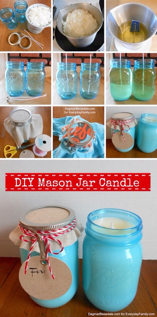 17. DIY Mason Jar Candles If you like melting stuff, this project is for you! I pretty much dig anything that has to do with mason jars, and I've always got a candle burning (I think I might keep Bath & Body Works in business these days).