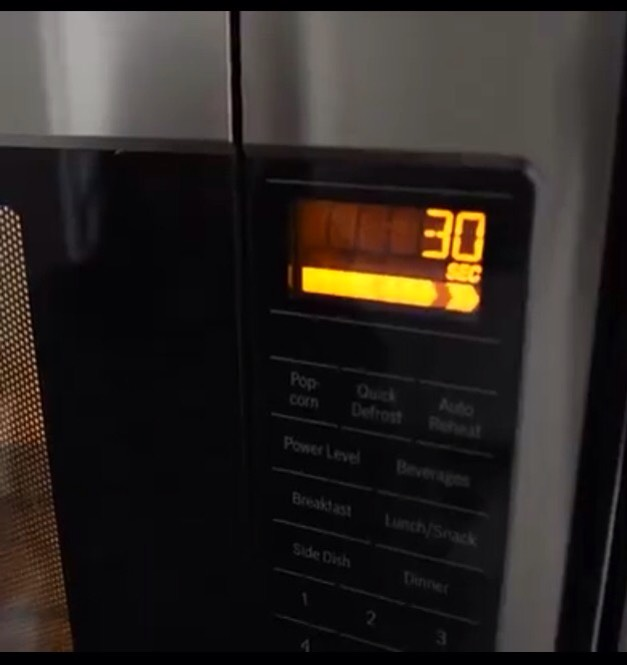 Set the microwave timer for 30 seconds
