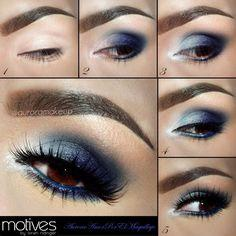 Blue eye shadow is a great color to use to bring out your beautiful brown eyes