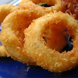This is an actual recipe from a former employee of a popular drive-in restaurant. Crispy coated onion rings like the pro's make!