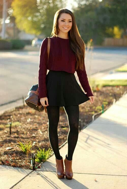 This kind out of outfit is my favorite. It is really pretty. Like I said I like to combine dark colors. If it's not that cold outside wear a skirt with a long sleeve. Put it in  and wear some  Leggings with a light brown boots.