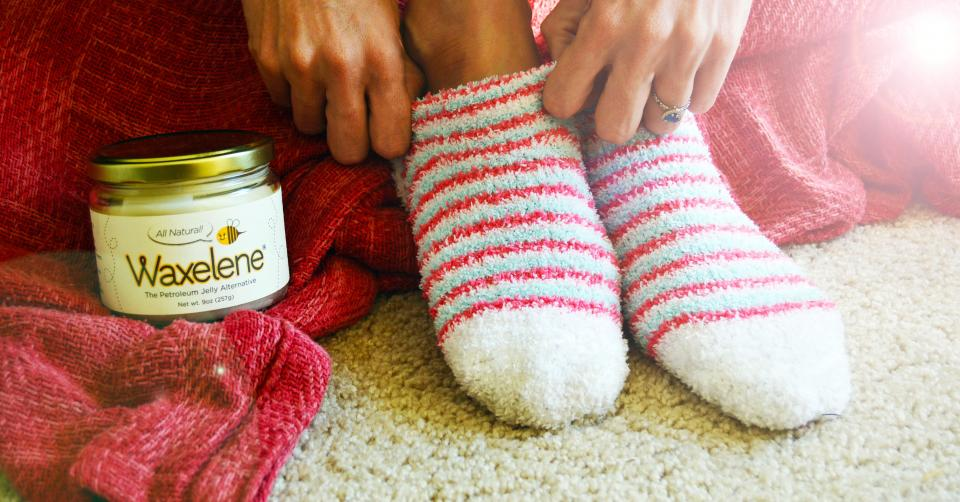 Suffer from dry or chapped feet?! Waxelene is a great, natural solution! Just use a dime size amount on each foot and put on a sock before bed. Wake up to hydrated, soft feet!