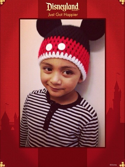 This is the Mickey Mouse beanie she made for my son