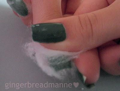 Leave them on your nails for 1-2 minutes, give or take. That's the time where the remover is doing its job. This is similar to soaking your nails in remover but a lot less harsh on your skin. You nails will not absorb the remover. grab a new piece of CP and wipe off the wet CP from your nail while