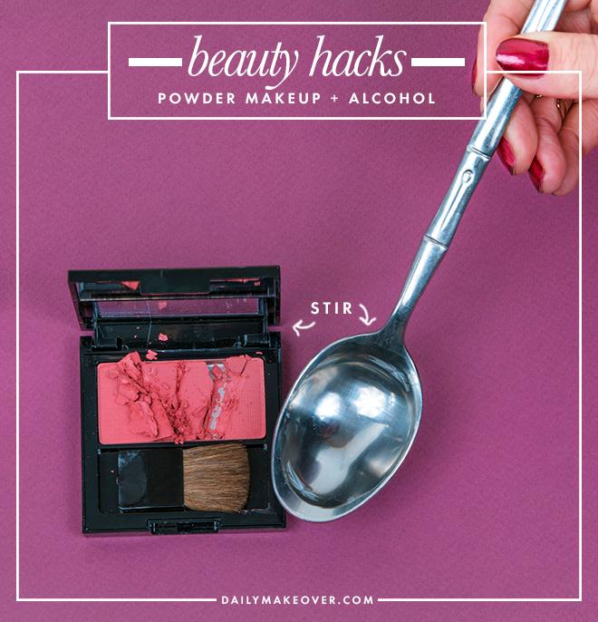 8. Smashed your favorite powder shadow or foundation? Add a couple tablespoons of rubbing alcohol and stir. Let the alcohol dry out overnight and you'll wake up to a fixed compact in the morning.