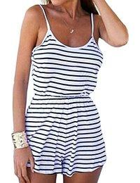 Choies Women's Cotton Summer Sexy Stripe Spaghetti Strap Backless Romper Playsuit