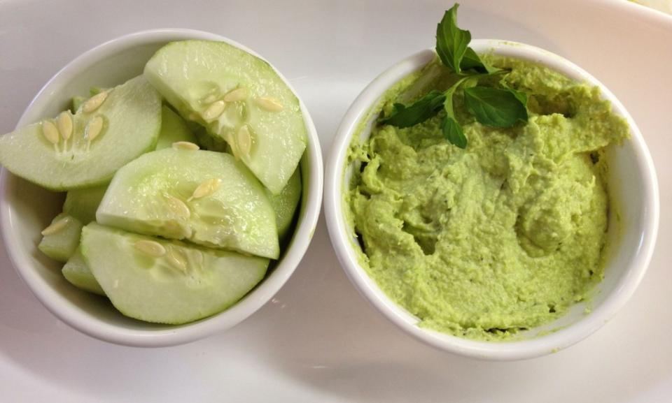 Edamame Hummus Spread: 1 pound frozen shelled edamame, thawed 1/4 cup fresh lemon juice (from 2 lemons) 2 tablespoons tahini 2 medium garlic cloves, smashed Coarse salt