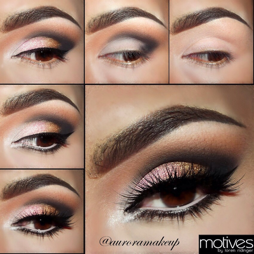Follow these steps to get a beautiful pink and gold smoky eye effect!