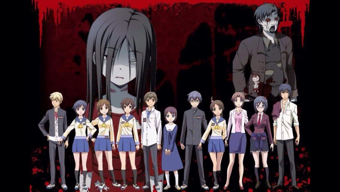Corpse Party (top: Sachiko, principal; bottom, left to right: Yoshiki, Ayumi, Seiko, Naomi, Satoshi, Yuka, Morshige, Mayu, Ms. Yui, Naho, Kizami)