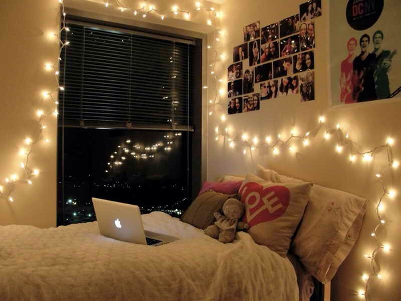 Add fairy lights/Christmas lights on the walls to make your room brighter and magical