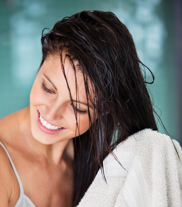 Only put conditioner on the bottom 3/4 of your hair!  Try and avoid your roots unless you have a dry scalp.  Our scalps naturally produce oil everyday, so adding extra can give your hair a greasy look!