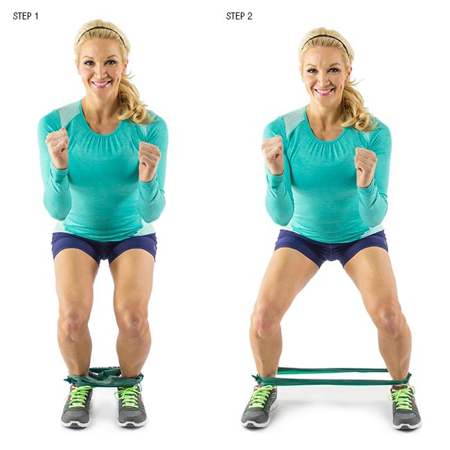 Squat Step with Resistance Band: Tone your quads and glutes with this killer move. Do it quickly in a controlled motion back and forth as many times as possible in 60 seconds.