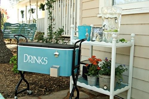 Make it easy for guests to serve themselves drinks.