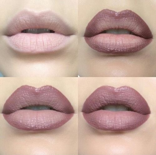 4. Ombre your lips to make them look fuller. To make your lips look fuller, you can use an ombre technique with your lip products. Put a darker color on the outer corners and a lighter color in the center to make your lips appear more pouty. The NYX Ombre Lip Duo is perfect for creating this gorgeous pout.