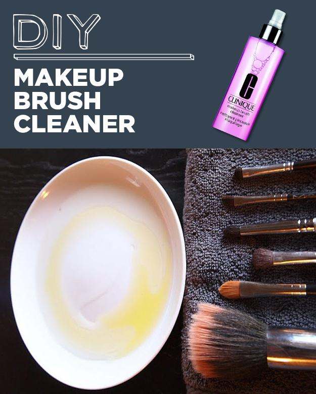 23. DIY Makeup Brush Cleaner Squeaky clean DIY brush cleaner: 1/2 olive oil, 1/2 dishwasher soap. Mix it together and voila!