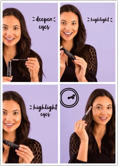 Next, blend the highlighter onto the bridge of your nose, upper cheekbones, your brow bones, center of your lower forehead +above the center of yourcupid's bow. Voila! Five minutes +fabulous!