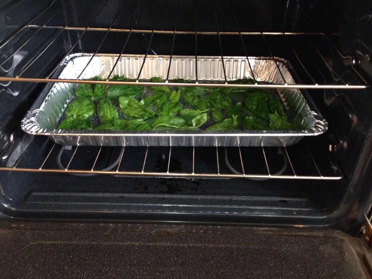 Bake spinach for 6-8 minutes. After 8 minutes watch super carefully
