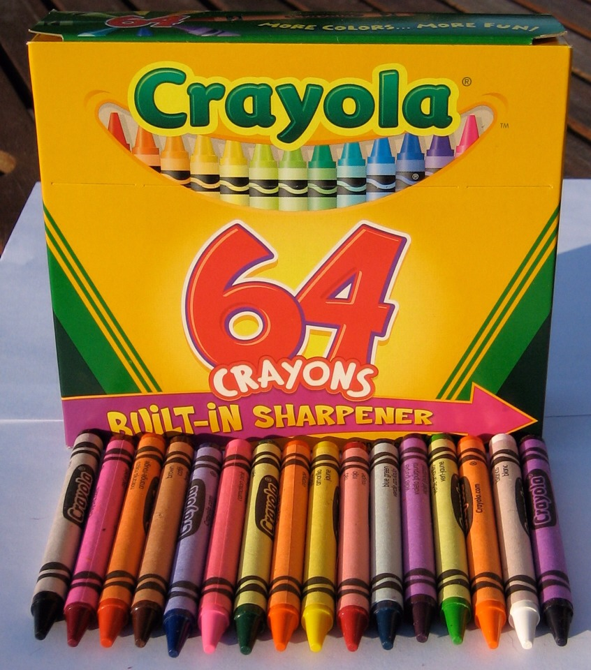 Buy a pack of crayons. The size of the pack you buy depends on how big you want your design to be. Also buy a canvas. Any size, it's up to you.