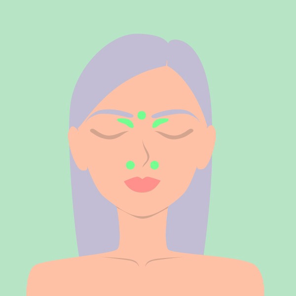 Forehead acupressure Applying pressure to the areas shown in the picture is said to relieve a stuffy nose and head congestion. Using a middle finger, press firmly for 2 minutes. Release the pressure slowly to allow the tissues to respond