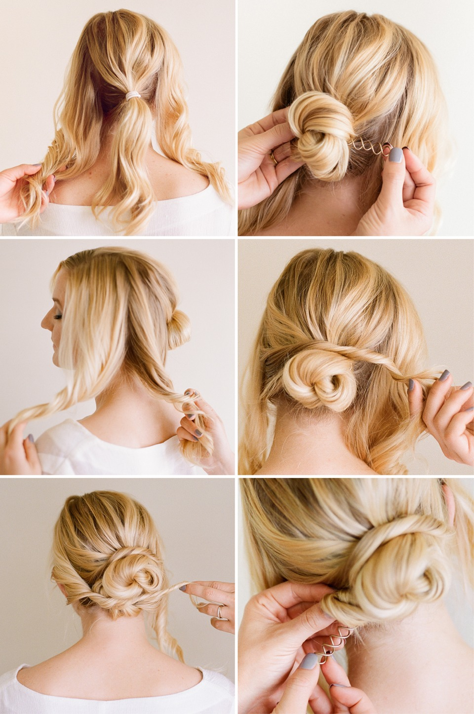 Add texture to the hair by spraying dry shampoo in roots and let it set in a minute. Then divide hair in two sections as if you were doing a half updo. Tease the underneath and smooth the front. This will give a nice lift.