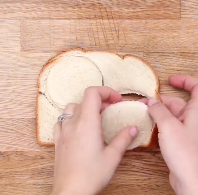 Cut out little bread circles (I use a cup)