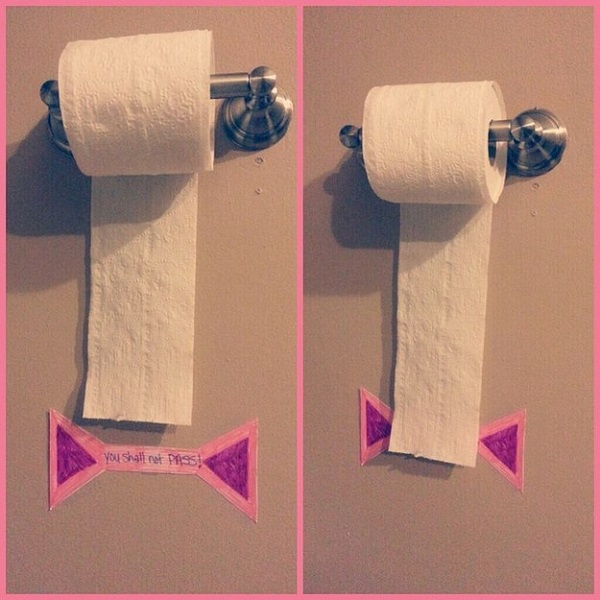 To stop your kids from wasting toilet roll, place a sign on the wall to give them a visual limit of how much they're allowed.