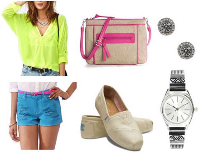 Product Info:  Blouse- Nasty Gal, Bag- DSW, Earrings- Forever 21, Shorts- Forever 21, Shoes- TOMS, Watch- ASOS