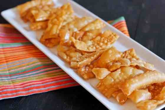 Cassie's Notes: Alternately, you can bake the won ton wrappers for a healthier option. Lightly spray a baking sheet with non-stick cooking spray and bake at 375 degrees until lightly browned and crispy.