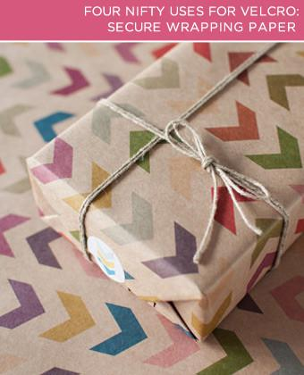 All you need to keep your paper wrapped tightly is a small strip of Velcro®. Roll your paper as tightly as you can, and then secure it with the strip. You'll have a securely bound tube that's easy to store and won't turn into a crinkly mess between special occasion.