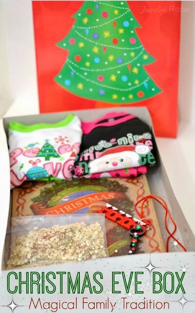 Make a Christmas Eve box for your kids to open before bed with jammys, a book or movie, and reindeer food!