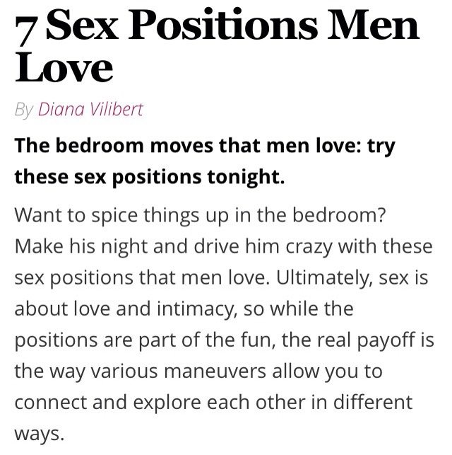 Sex styles men like