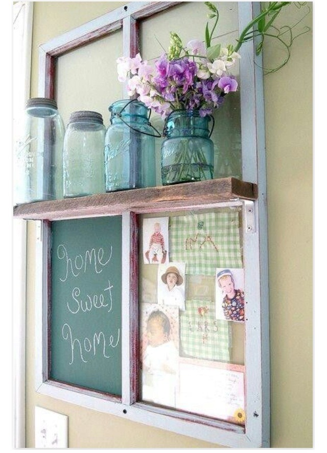 6. Repurpose an old window as a chalkboard and shelf for the kitchen