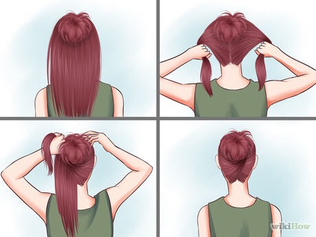Do a sleek, dressy bun. Take a small bit of hair at the top of your head. Do a bun as described in the second method. Split the rest of your hair in half. Take the right half and wrap it around your head, including the beginning bun. Do the same with the left.