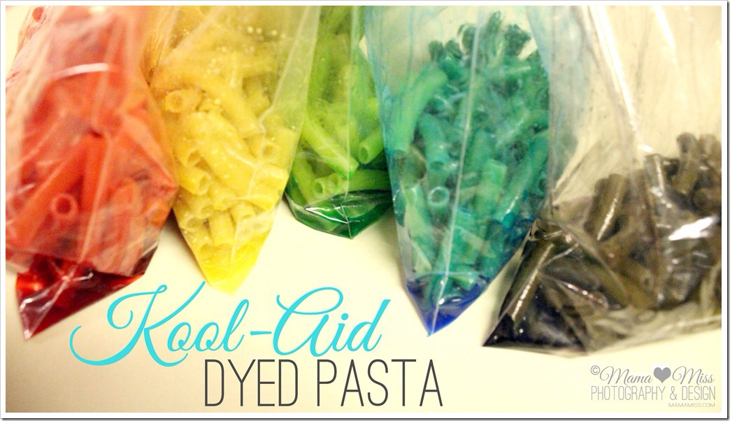 Kool aid dyed pasta: great for crafts. Mix a packet of kool aid with hot water and 2 cups of dry noodles. Mix until kool aid is dissolved and add food colouring if you wish for extra vibrancy. Put into plastic bags and shake until noodles are completely dyed. Remove and leave out for 6 hours to dry.