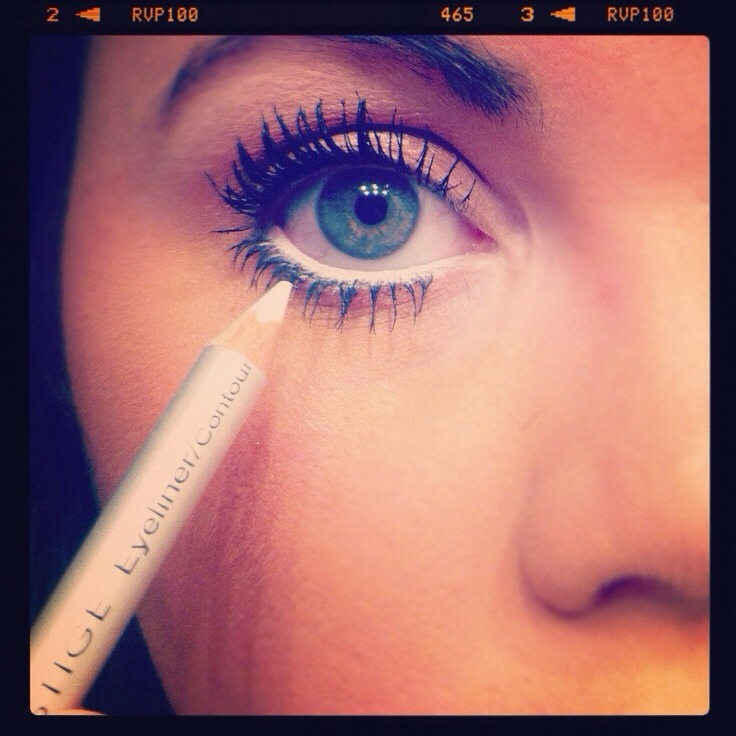 Use white eyeliner on the inside of your bottom eye line too make them look bigger and leas tired :)