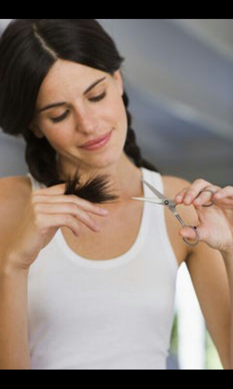 The fourth step to getting long hair is to trim your ends. Trimming your ends gets rid of the damaged or split ends. If you don't get rid of your split ends, your hair can split all the way up your hair shaft and cause your hair to break off. There are also hair treaments for repairing split ends.