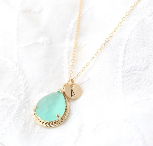 Personalized Mint Opal Necklace ($25 and up)