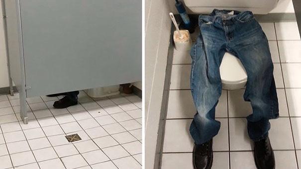 Occupied bathroom prank