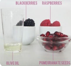 INGREDIENTS: 3 Blackberries (for their bright berry color), 1 Raspberry (for its feminine pink color), 3 Pomegranate Seeds (for their vibrant red color), 1/2 teaspoon edible oil, a small Bowl + Spoon (or mortar + pestle if you have them), Fork or Sifter to drain, small 5-gram Pot/Jar with a screw to