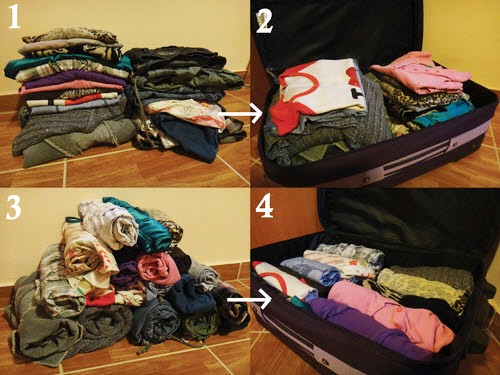 Take clothes and fold in a cylinder