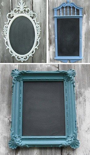 Paint the frame your desired color. Paint the mirror with chalk board paint. YOU DONE! It's that simple!