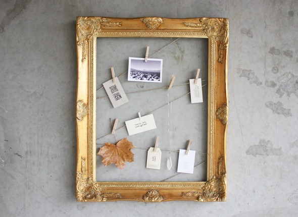 Attach twine to a frame and you've got yourself a beautiful way to display photos and cards!