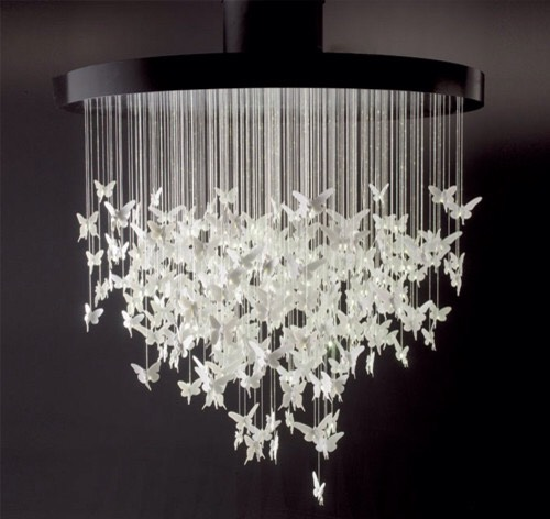 Butterfly Chandelier Cut out a lot of butterflies and strings that are different lengths. Attach the butterflies and strings together and attach them onto a sturdy circle for hanging.
