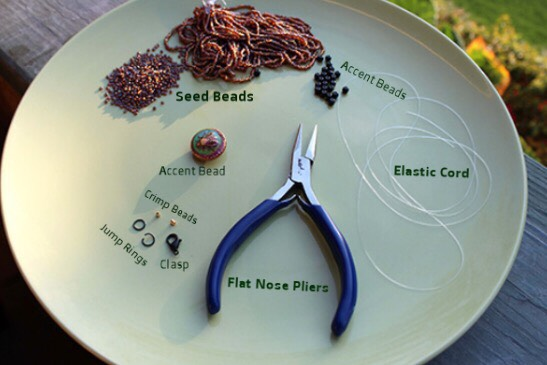 Supplies: - Seed beads - Accent beads - Crimp beads - Jump rings - Clasp - Flat nose pliers  - Elastic cord