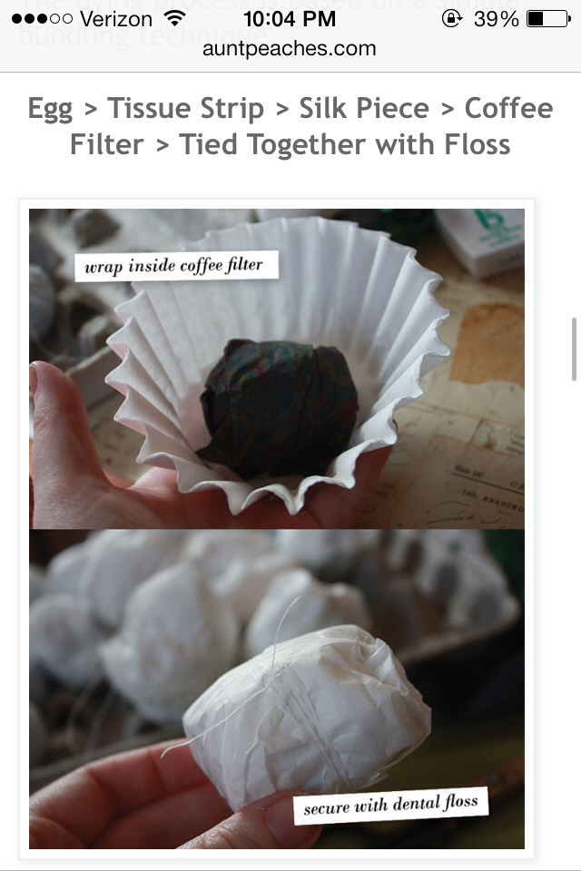 Use coffee filter to cover egg. Tied it with dental floss.