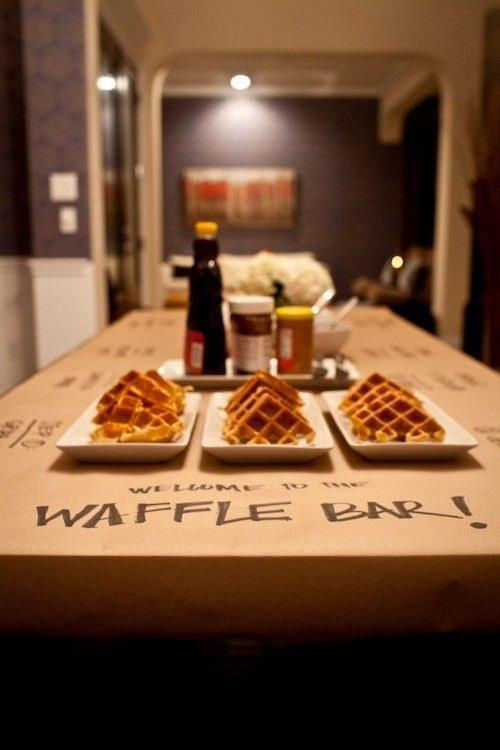 28. In the morning — because they still haven't gotten enough yumminess — you can set up a waffle bar.