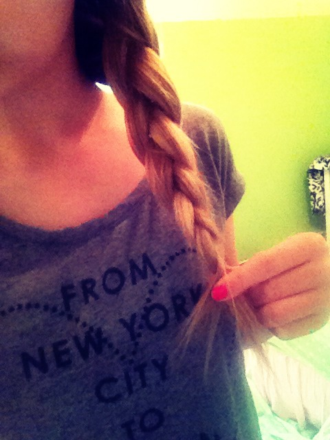 Next, do a basic braid on the rest of your hair!