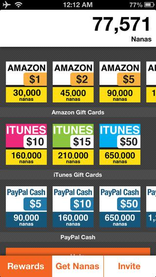 You use nana points to redeem your gift cards