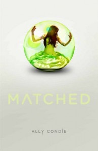 #3) Matched by Allie Condie  This book is also about a dystopian society. It centers around Cassia a girl who is matched with two guys. She has to choose between the two guys to marry. This book unfolds an adventure of passion versus perfection